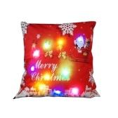 Fodera per cuscino natalizio in lino colorato a LED 18 * 18 pollici / 45 * 45 cm