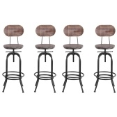 Second Hand iKayaa Industrial Style Bar Stool Height Adjustable Swivel Kitchen Dining Chair Pinewood Top + Metal With Backrest