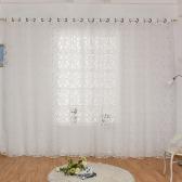 39 * 98 polegadas Poliéster Semi-Blackout Grommet Janela superior Painel de cortina Sala de estar Quarto Hotel Voile Cortina Drape - Cinzento
