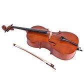 Segunda mano 4/4 tamaño completo de madera violonchelo acabado brillante Basswood tablero de la cara con la bolsa de resina de arco para estudiantes amantes de la música