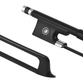 ammoon 4/4バイオリンフィドルボウカーボンファイバーラウンドスティックエボニーカエルブラックホースヘアウェルバランス