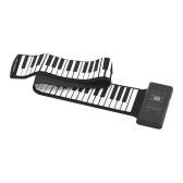 88キーポータブルロールアップピアノ電子キーボードシリコン内蔵ステレオスピーカー1000mAリチウムイオンバッテリーサポートMIDI OUTマイクサステインペダルによるオーディオ入力機能