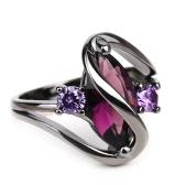 Europeu Romântico Popular Sapphire Anéis Banhado A Ouro Preto Anel de Diamante Moda Jóias Acessórios
