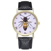 Orologio vintage in pelle di miele con ape e insetti per donna