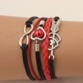 Mode Multi-couche en cuir alliage en forme de coeur Cupidon flèche tissé Bracelet pour les femmes bijoux