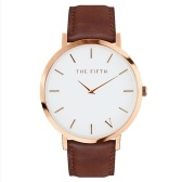 160 Women Quartz Leather Strap Simple Wristwatch