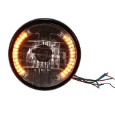 "7"" Motorcycle Headlight Round LED Turn Signal Indicators Blue Light Universal"