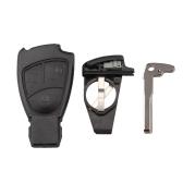 Remote Key Shell Case Fob pour Mercedes Benz M S C E CL 3 bouton protège-clavier avec support de batterie et lame de clé