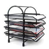4-Tier File Document Letter Paper Tray Sorter Collection Office Desktop Organizer Holder Shelf Metal Mesh Black