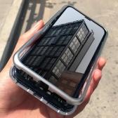メタルリムメイド携帯電話ケース強化ガラス磁気吸着保護スマートフォンカバーバンパー豪華なアルミニウムフレームケース、iPhone 8P用