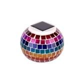 Luz exterior do diodo emissor de luz da lanterna da bola do gramado da luz das energias solares do vidro do mosaico