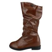 新しい冬女性ブーツ PU レザーつま先ふくらはぎ前かがみシューズ ブラック/ブラウン半ば隠されたウェッジヒール ラウンド