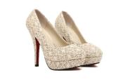 ファッション女性ハイヒール レース表面プラットフォーム唯一の低カット ヴァンプ ポンプ靴ベージュ