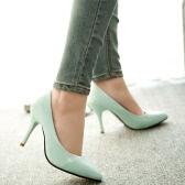Новая мода женщин насосы лакированной кожи конфеты цвет указал мыс высоких каблуках простой
