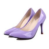 新しいファッション女性ポンプ パテント レザー キャンディー カラー指摘つま先かかとの高いシンプルな靴