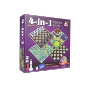 4 en 1 Family Classic Puzzle Chess Game / Drafts Game / Snakes & Ladders Game / Ludo Game