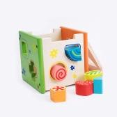 Caja de inteligencia colorida Caja de madera finamente hecha a mano Clasificación Cubo Caja de juguetes educativos para niños pequeños y niños pequeños