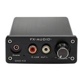 FX-AUDIO DAC-X3 Decodificador de fibra USB 24Bit 192Khz DAC Auriculares Amplificadores de audio Soporte PC-USB Coaxial Audio óptico EN 3.5mm Auriculares OUT Plug de la UE