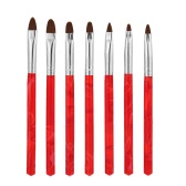 ULTRAVIOLETA profesional del sistema de cepillo de uñas Arte Pintura pluma del cepillo de uñas Set Pen Kit El esculpir BQAN 7pcs Herramientas de bricolaje de uñas cepillo de nylon rojo del pelo