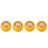 4Pcs Bicycle Ball Valve Caps with Cute Emoji Pattern