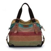 Sac à main Color bloc sac bandoulière rayé Crossbody Messenger sac fourre-tout en toile Retro hommes femmes