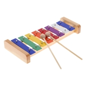 Wood Pine Xylophone 8-Note 3 mm Placa de alumínio colorida C Percussão-chave Toddle Kid Toy Musical