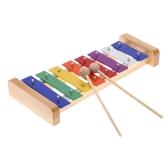 Древесина сосны Xylophone 8-Примечание 3мм цветной алюминиевой плиты C ключ перкуссия Toddle Kid музыкальная игрушка