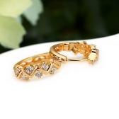 1 زوج واضح كريستال الزركون 18 كيلو مطلية بالذهب موجة الجوف هوب أقراط مجوهرات هدية للنساء سيدة