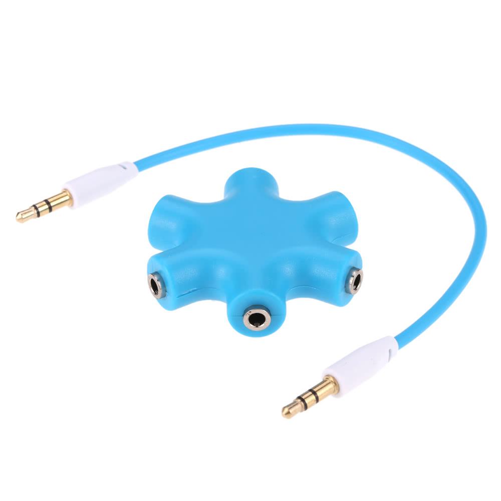 3.5mm 6 Ports Multi Headphone Headset Earphone Splitter Adapter 1 to ...