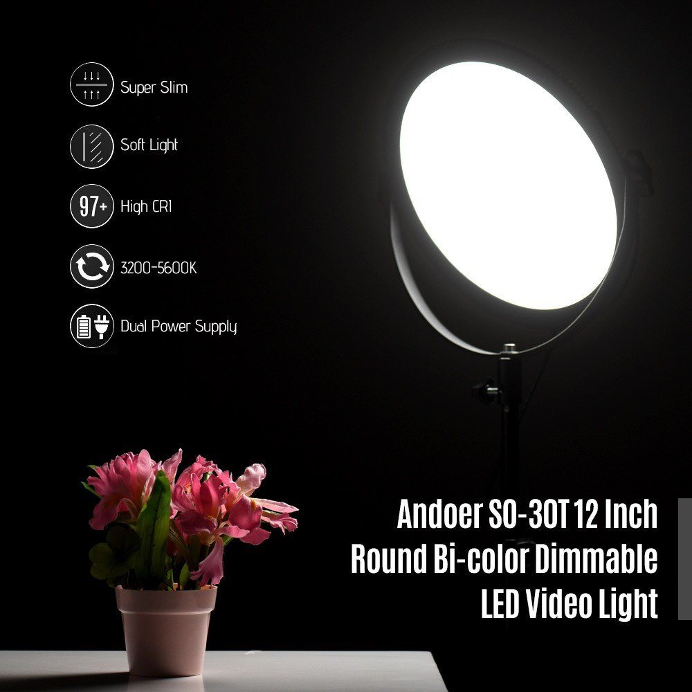 Andoer SO-30T Ultrathin Bi-color Round LED Video Light 3200K-5600K  Photography Fill Light Stepless Diammable LCD Display Screen CRI 97+ with  2m Light