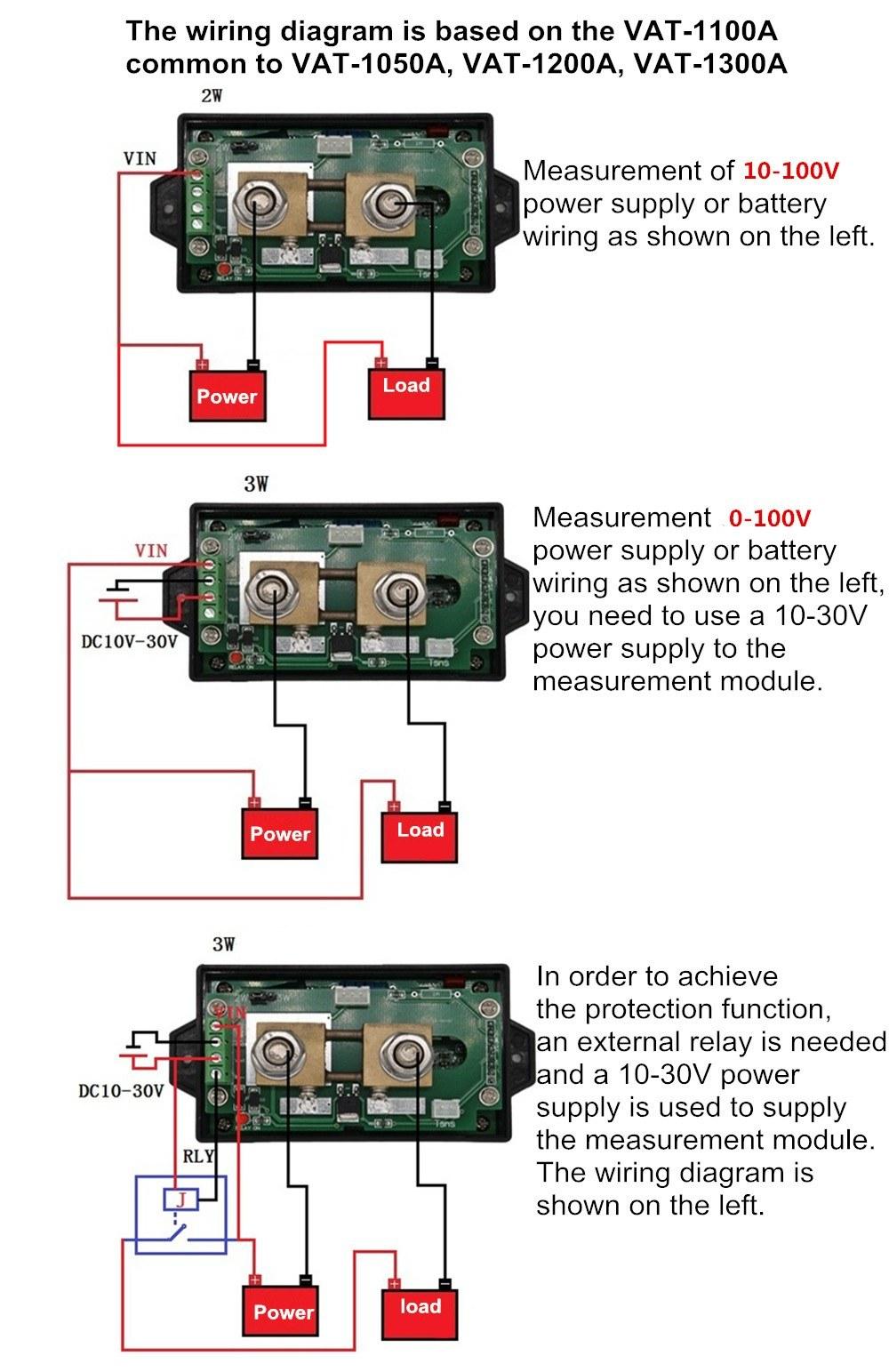 Juntek Dc 001 100v 100a Multifunctional Wireless Digital Bi Volt Meter Wiring Diagram On For Ammeter Directional Voltage Current Power Voltmeter Capacity Coulomb Counter