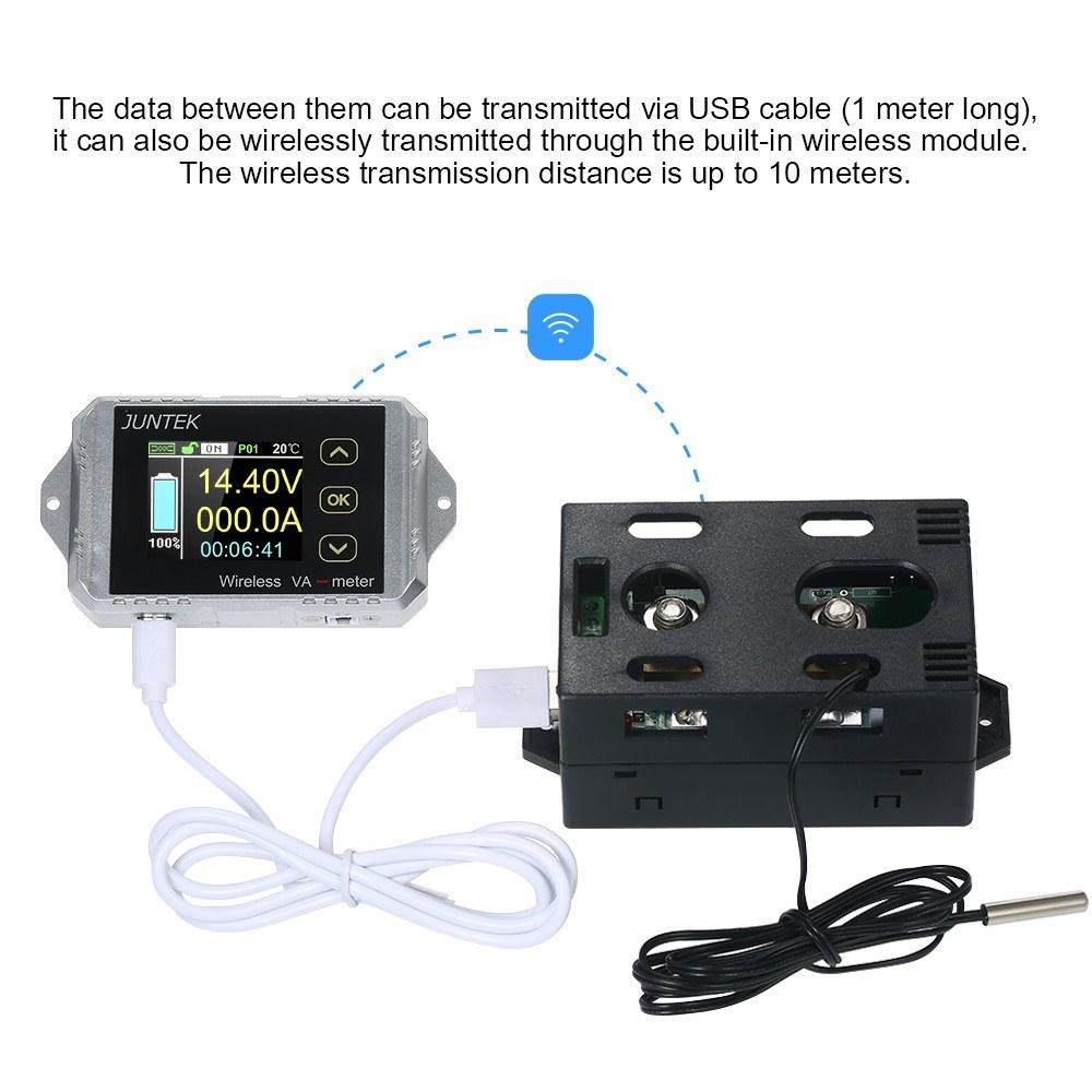 Juntek Dc 001 100v 100a Multifunctional Wireless Digital Bi Combo Amperemeter Voltmeter Frame 0 10a Directional Voltage Current Power Meter Ammeter Capacity Coulomb Counter