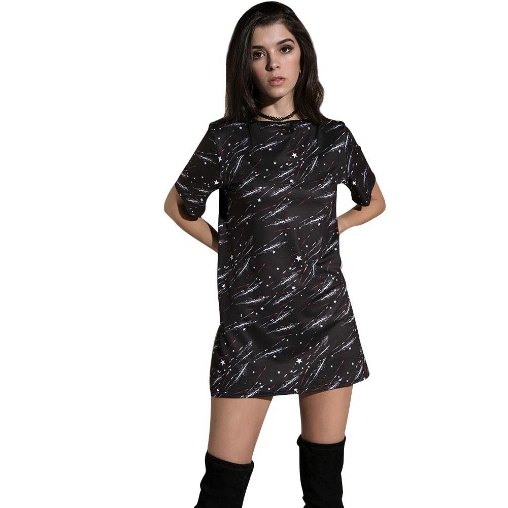 6e01754bb106 T-Shirt da Donna Estiva Mini Abito Speciale Stampa Manica Corta Casuale  Tunica Allentata Top Lunga Tee Nera