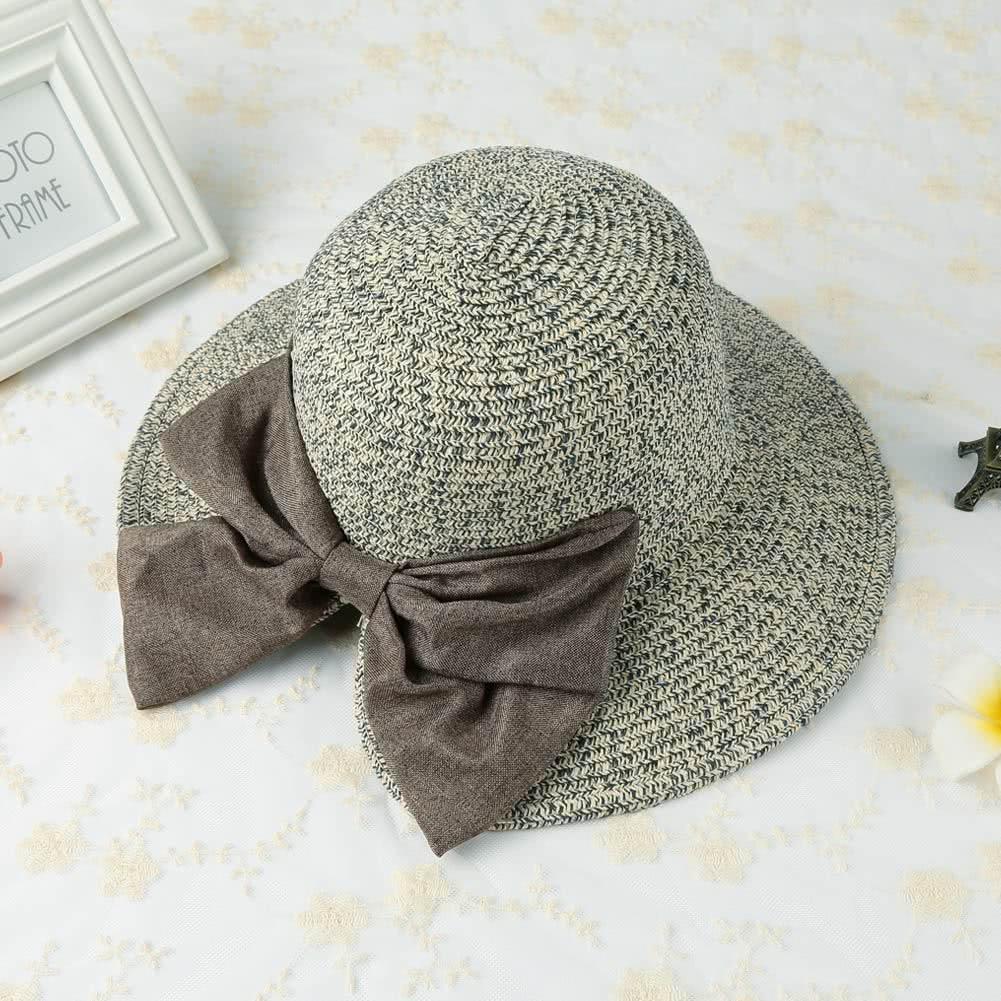 New Fashion Women Straw Hat Bowknot Large Rolled Brim Foldable Sweet Vintage Sun Summer Beach Cap
