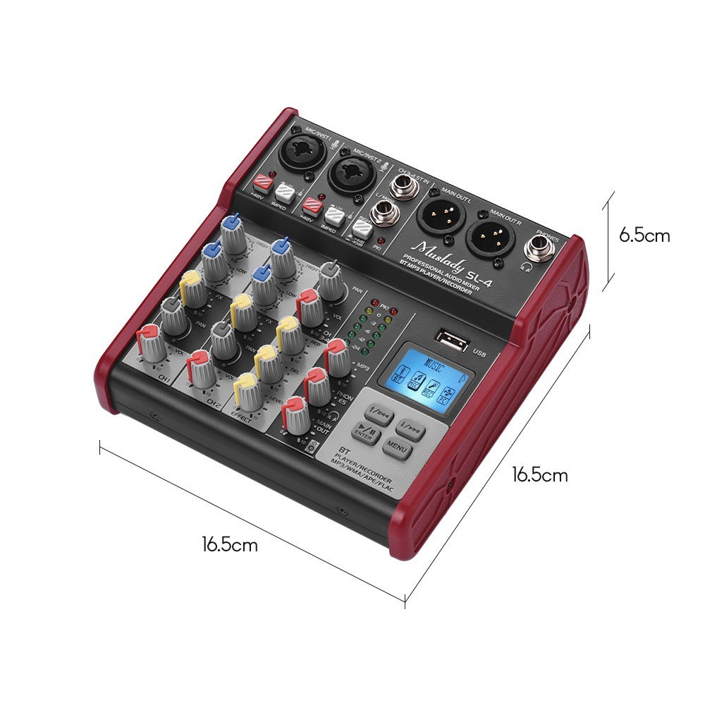 Muslady SL-4 Compact Size 4-Channel Mixing Console Mixer