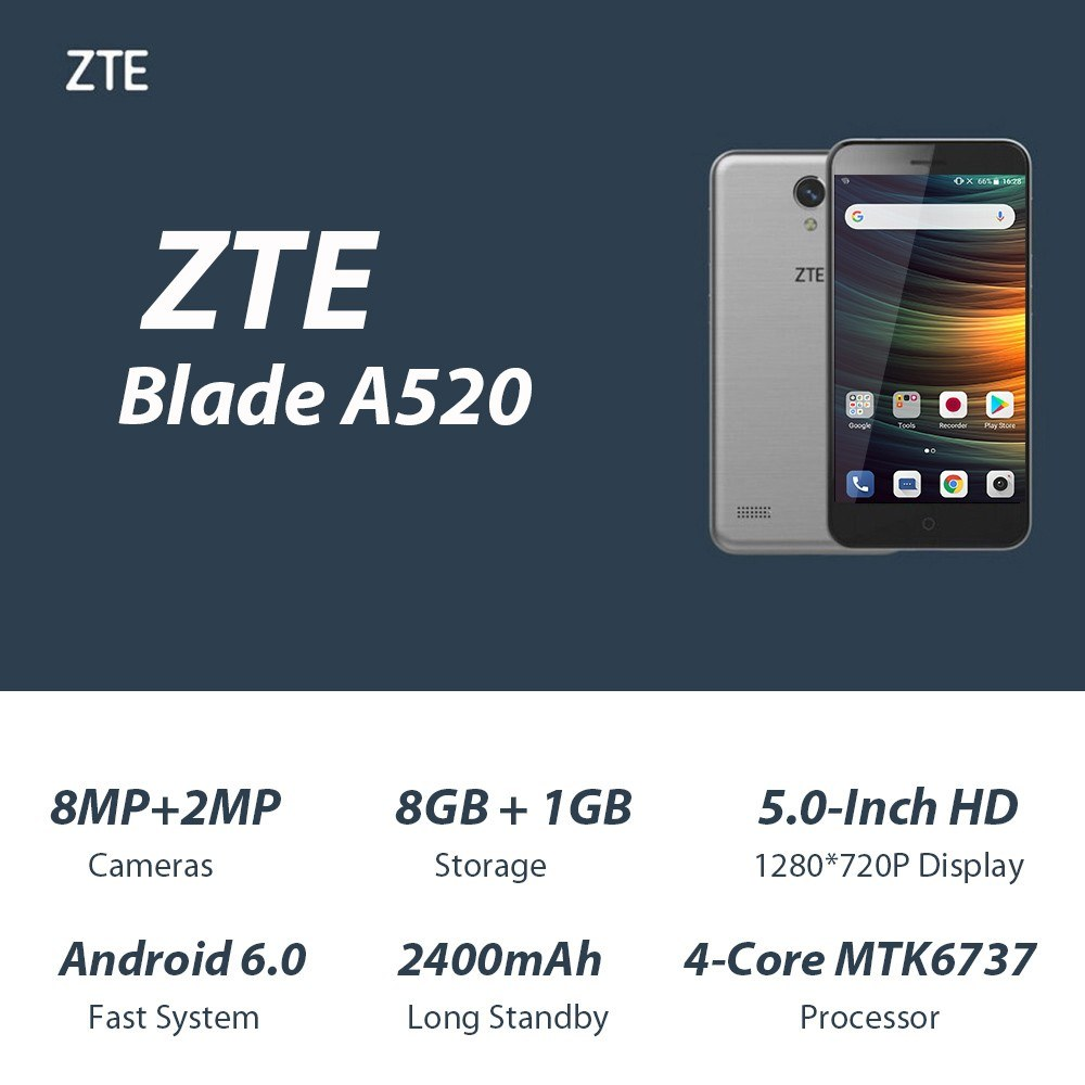 ZTE Blade 4G Smartphone 1GB RAM 8GB ROM
