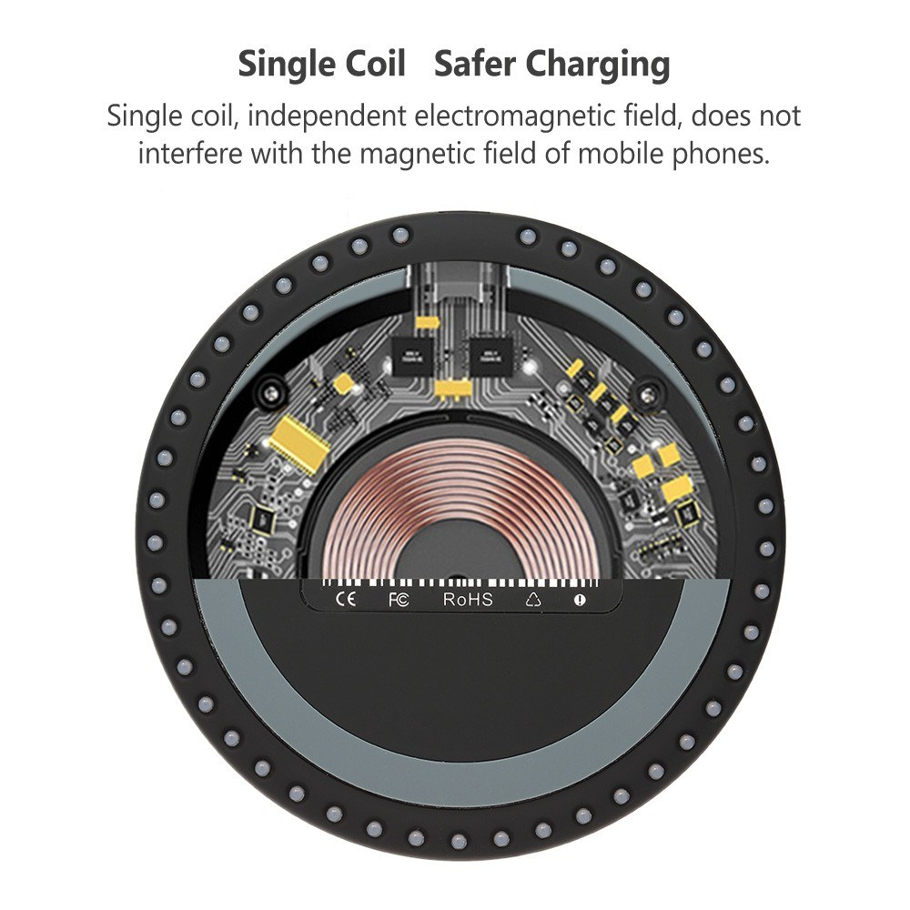 JH-67 Qi Wireless Fast Charger with Breathing LED