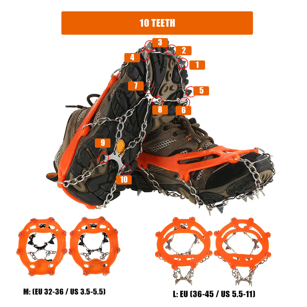 Skidproof Mini Shoes Crampons Grip ICE SNOW Traction Climbing  mountain  L