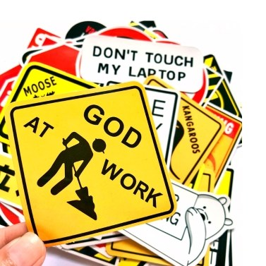 50 Pcs Warning Stickers Mixture Sticker