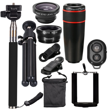 10PCS 12X Telephoto Universal Mobile Phone Lens Kits