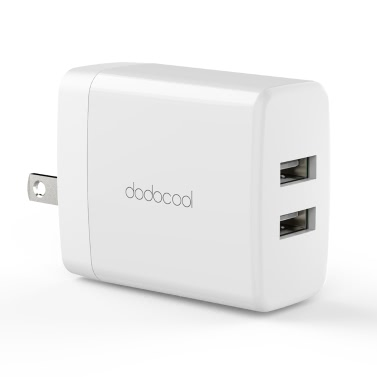 dodocool 24W 2-Port USB Wall Charger Travel Power Adapter with Foldable Plug