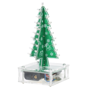 DIY Colorful Easy Making LED Light Acrylic Christmas Tree with Music Electronic Learning Kit Module