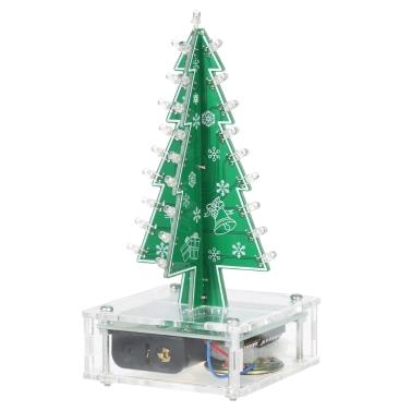DIY Colorido Fácil Fazendo LED Light Acrílico Árvore de Natal com Música Electronic Learning Kit Module