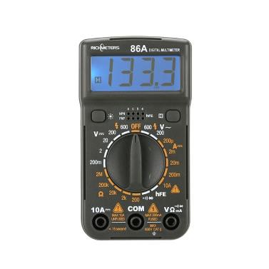 RICHMETERS RM86A Карманный размер Мини-цифровой мультиметр Подсветка AC / DC Ручной амперметр Вольтметр Напряжение Ток Ом Электрический тестер Портативный 1999 Кол-во Метр