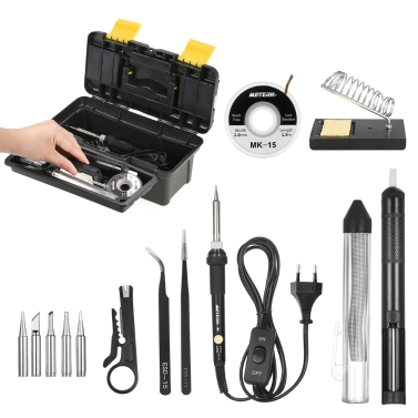 Meterk 14 in 1 Soldering Iron Kit 60W Adjustable Temperature Welding Soldering Iron with ON/OFF Switch 5pcs Soldering Tips Solder Sucker Desoldering Wick Solder Wire Anti-static Tweezers Iron Stand with Cleaning Sponge Tool Box