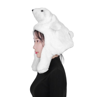 Cartoon Cap Warm Winter Hat White