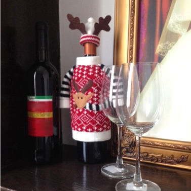 Christmas Elk Red Wine Bottle Cover Bag Dinner Table Decoration Home Party Decor Supplies