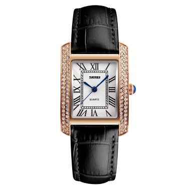 SKMEI 3ATM Water-resistant Fashion Casual Watch Women Quartz Watches Genuine Leather Wristwatch Female Relogio Musculino