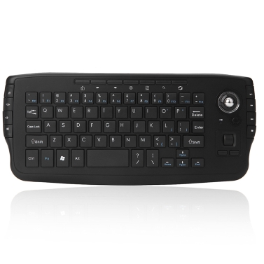 Tastiera QWERTY wireless E30 2,4 GHz con trackball mouse nero