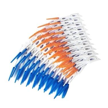 80Pcs / Box Filo interdentale Spazzolino interdentale Spazzolino per denti Stuzzicadenti Morbido Silicone Denti Prende cura per la pulizia orale